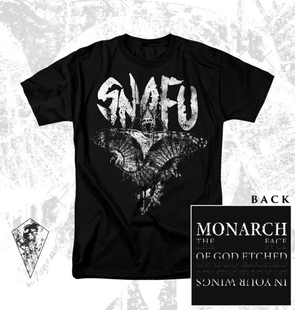 """""""Monarch"""" for SNAFU. Back design by Rian Staber."""